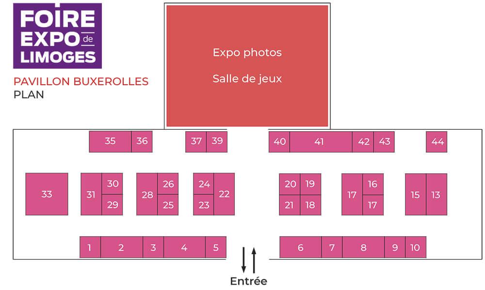 Plan du pavillon Buxerolles avec les numéros de stand